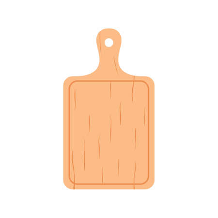 Wooden cutting boards. Kitchenware icon on white background. Chopping boards made from natural bamboo. Chef and restaurant, kitchen concept in cartoon style. Flat vector illustration