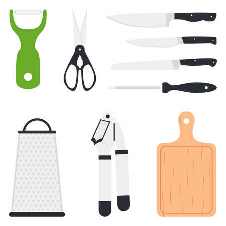Kitchen utensil design elements set collection. Peeler, scissor, knife, wooden cutting boards, grater. Vector cooking and kitchenware modern tools. Household flat cartoon icons