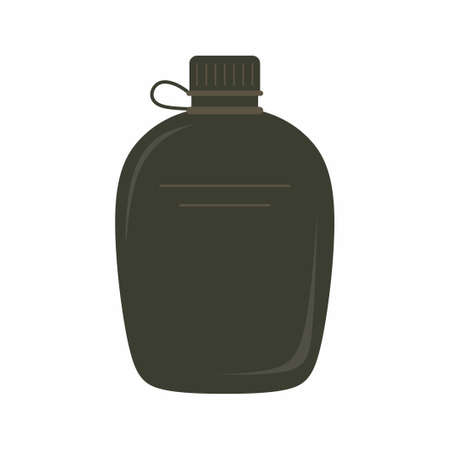 Bottle of water sport. Army water canteen icon illustration in flat design style. Tourists gear. Vector reusable bottle isolated on white background. Water container, flask symbol Ilustrace