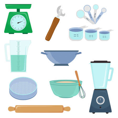 Kitchen tools accessory simple isolated set collection. Kitchenware scales, measuring cup, measuring spoon, eggbeater and bowl etc. Cooking concept. Vector flat cartoon graphic design illustration