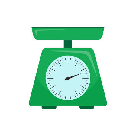 Kitchenware scales flat icon. Green scales with round dial and scale-pan isolated on a white background. Cartoon illustration of domestic weigh scales vector icon for web design