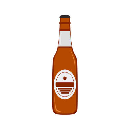 Vector flat illustration of beer bottle. Drinking, soda, alcohol. Beer icon design isolated on white background. Illustration can be used for topics like beverage, bar, restaurant or cafe