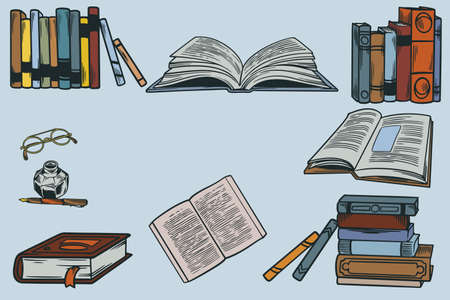 Set collection of hand drawn icons of school equipment. Stack of book with old retro writing instrument and glasses. Vector illustration on the theme of library, books, reading vintage sketch