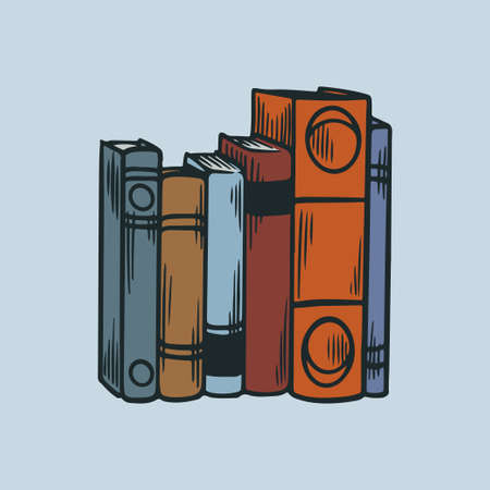 Pile of books. Stack of library books with hand drawn engraving sketch vintage stye vector illustration icons. Library literature, stacks book school, knowledge and education concept Ilustrace