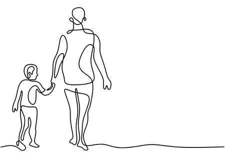 Father holding his son walking together continuous one line drawing. Happy little kid spending time with his daddy at home. Family time concept hand drawn line art. Vector minimalist design Ilustrace