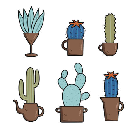 Cactus set collection with different types. Cute character cartoon. Desert botanical flower plant garden summer. Vector illustration. Suitable for wallpaper, texture and pattern on gift wrap