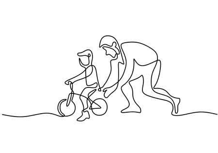 Continuous one single line drawing of young father help his son learning to ride a bicycle in the field together. Happy parenting concept. Character dad teach his son riding bicycle