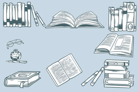 Hand drawn sketch on the theme of literature. Set of stacks of paper books, home library, bookshelf and pen with ink. Doodle elements school. Concept of education, book time. Vector engraving sketch