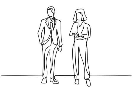 Continuous line drawing of two business people standing pose together. Businessman and businesswoman standing with gentle and confident pose. Minimalism design vector sketch illustration