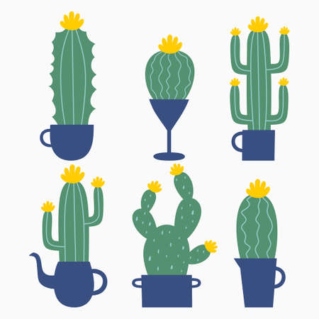 Set of six illustrations of cute cartoon cactus and succulents with funny faces in pots. Cactuses with light green color.Vector illustration. Can be used for cards, invitations or like sticker Ilustrace