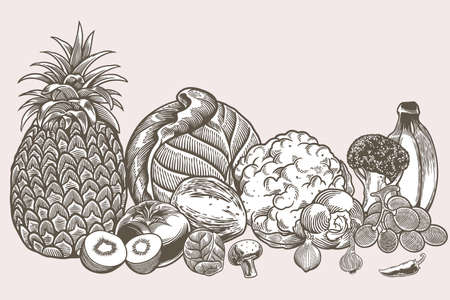 Hand drawn vegan food icons doodle set include tomato, potato, garlic, grape, banana, broccoli, cabbage etc. Decorative retro style collection farm product restaurant menu, market label.
