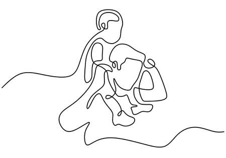 One continuous single line drawing of a daddy carries the child on the shoulders. Happy little child playing with his father isolated on white background. Character dad and his kid minimalism design