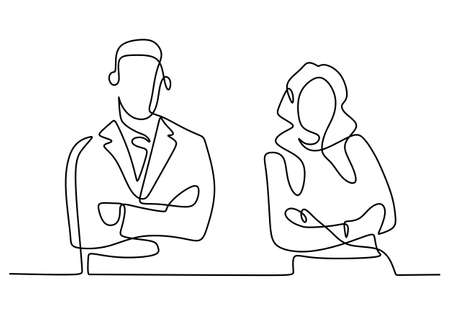 Continuous line drawing of two business people standing pose with arms crossed. Businessman and businesswoman standing with gentle and confident pose. Minimalism design vector illustration