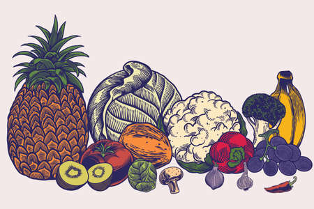 Big collection of hand drawn sketches templates patterns of vegans dieting meal natural vegetarian nutrition smoothie cocktail cereals vegetables fruits. Healthy lifestyle illustration.