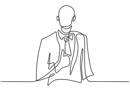 One single continuous line drawing of young professional businessman is standing and give thumbs up gesture. Success business manager concept isolated on white background. Vector illustration Ilustrace