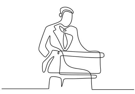 One continuous single line drawn character professional businessman of business coach speaking. A manager giving a speech business strategy. Speech concept with a man on podium. Vector illustration Ilustrace