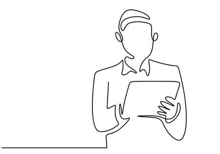Continuous single line drawing of young professional businessman wearing a suit and mask while carrying a folder or smartphone tablet isolated on white background. Gadget concept. Vector illustration