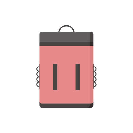 Portable cooler backpack icons isolated on white background. Picnic bag. Touristic camp or vacation equipment in cartoon design. Flat vector illustration outdoor activities