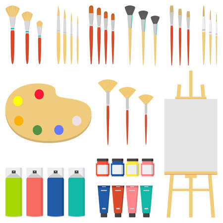 Set of painting tools elements cartoon colorful vector concept. Art supplies: easel, canvas, paint tubes, textile paint, brushes with different models etc. Vector creative materials illustration