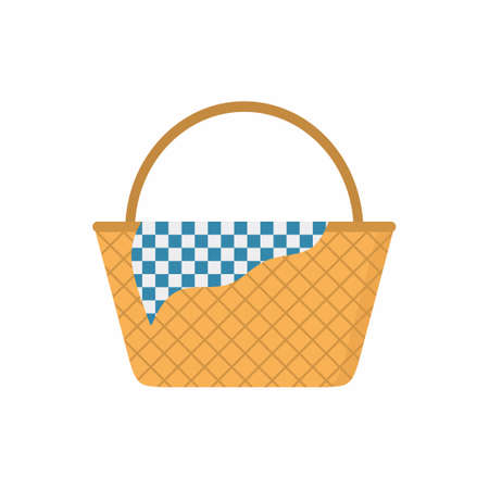 Wicker picnic basket. Colored of empty wicker baskets for a meal, for a picnic isolated on white background. A wicker for outdoor dining or hampers for food storage. Flat style vector illustration