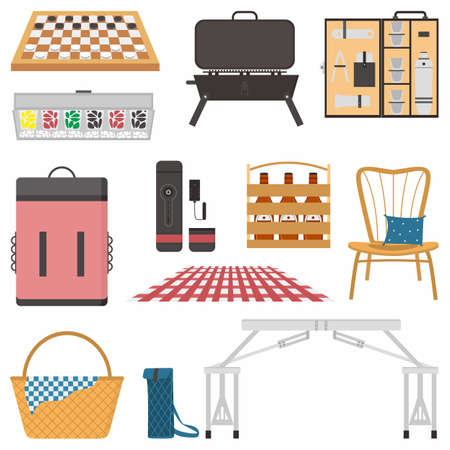 Picnic attributes flat color vector object set. Basket, table, chair, backpack, beer etc. Picnic in sunny day isolated cartoon illustration for web graphic design and animation collection Vektorové ilustrace