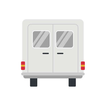 Blank white food truck icon. Rear view vehicle food truck. Vector flat cartoon illustration realistic delivery service van isolated on white background for car branding and advertising 矢量图像