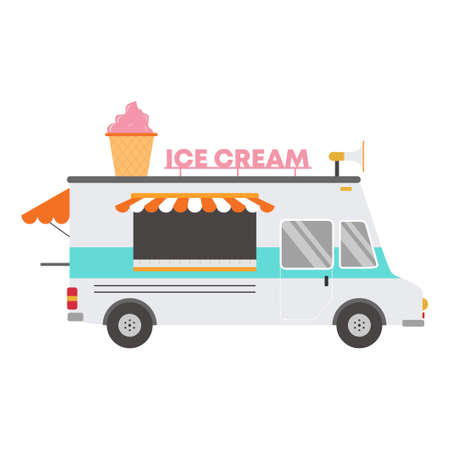 Vector illustration isolated ice cream car on white background. Delivery ice cream cone tasty dessert. Street Food Truck concept. Flat cartoon style element infographic, website, icon 矢量图像
