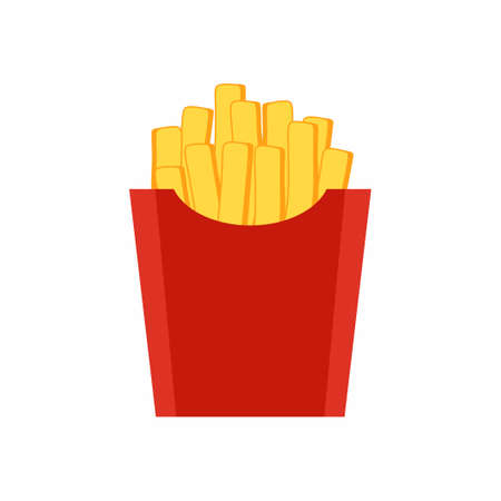 French fries in red paper box vector flat cartoon icon. Yellow fast food icons potato package isolated on white background. Junk unhealthy food. Consumption of high calories nourishment fast food