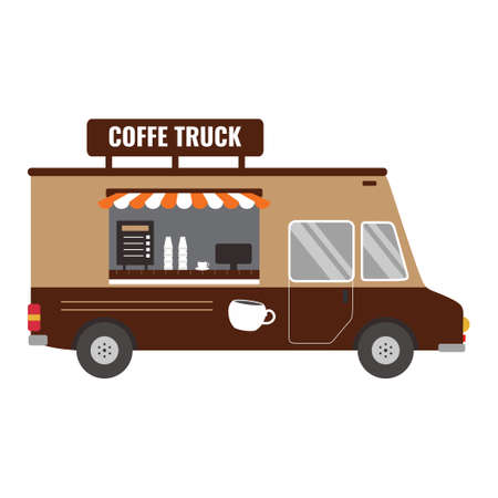 Street coffee van icon design. Espresso cafe breakfast coffee break food truck delivery master. Fast delivery. Flat cartoon style vector illustration. Vehicles food truck cafe infographic element