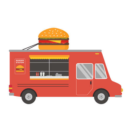Fast food on truck. Burger truck delivery service in cartoon design. Small business concept. Can be used for web design, info chart, brochure template. Vector flat illustration