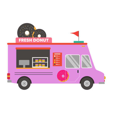 Donut truck icon. Street food van vehicle, delivery transport isolated on white background. Tasty dessert. Flat cartoon style vector illustration. Can be used for web design, brochure template.