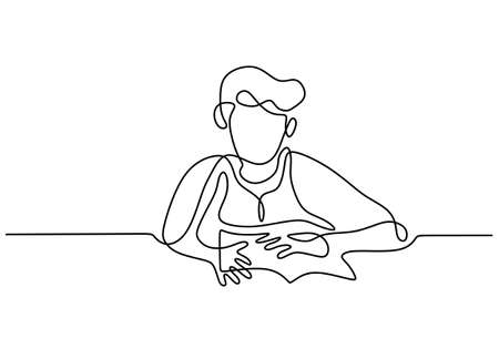 Continuous line drawing of a boy reading a book. Young teenager boy sit and read a book at library. The concept of education studies isolated on white background. Vector illustration 矢量图像