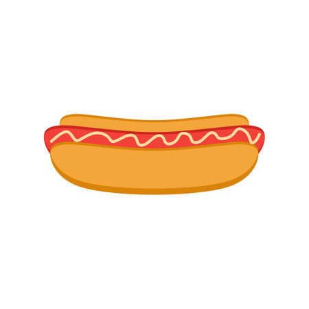 Hot dog flat icon. Delicious food with a nipple lying in a bun and poured mustard. Street food concept. Vector cartoon illustration isolated on a white background for design and web 矢量图像