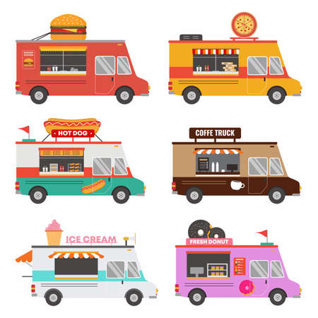 Set collection of fast food shop truck pizza, burger, coffee, donut, ice cream etc isolated on wite background. Street food van vehicle. Delivery service. Vector flat cartoon illustration