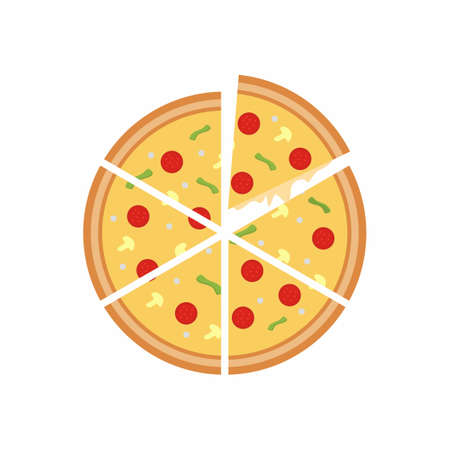 Pizza icon. Cartoon color slice of pizza isolated on white background. Pizzeria concept. Vector flat illustration. Hand drawn design element for label, restaurant menu and poster