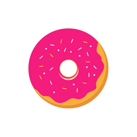 Donut flat icon. Sweet pink donut isolated on white background. Tasty snack dessert. Yummy cookie donut decoration color with topping. Vector illustration pastry delicious snack, eat candy