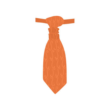 Men tie icon. Stylish and motif cravats. Orange necktie in flat style. Menswear decorative elegant accessory. fashion textile products. Types of cravats for suits. Vector illustration