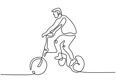 One continuous line drawing of young energetic man cycling ride folding bicycle to exercise. Healthy lifestyle concept lineart drawing vector illustration. Minimalist design on white background 矢量图像