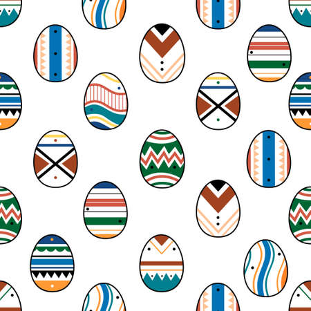 Happy Easter seamless pattern with colorful eggs isolated on white background. Flat cartoon vector illustration. Design for wallpaper, gift paper, web page background, spring and Easter greeting card