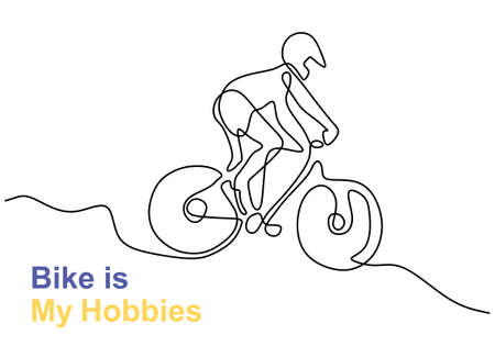One continuous line drawing of young energetic male bicycle racer race at cycling track. Racing cyclist concept. Minimalist design line draw design for cycling tournament banner. Vector illustration