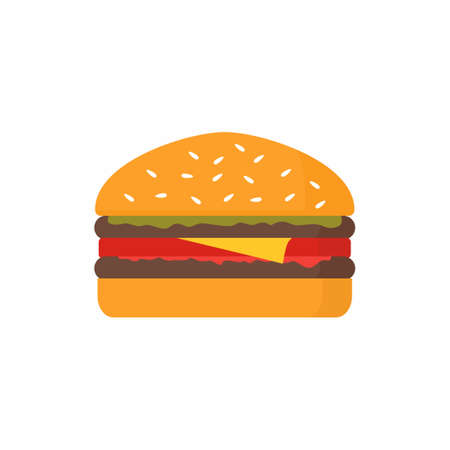 Hand drawn cartoon illustration delicious burger. Fast food vector drawing humburger isolated on white background in flat style. Design element for restaurant menu illustration or for logotype 矢量图像