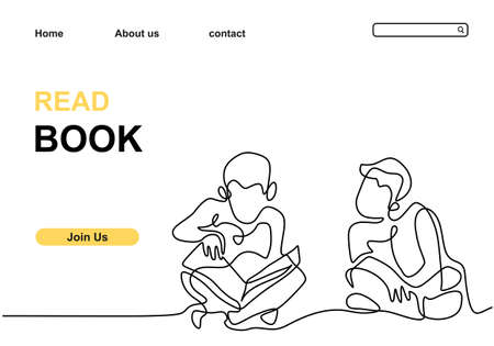 Two children read book continuous line drawing minimalism style. Two little boy read a book to study together. Back to school theme isolated on white background. Vector illustration