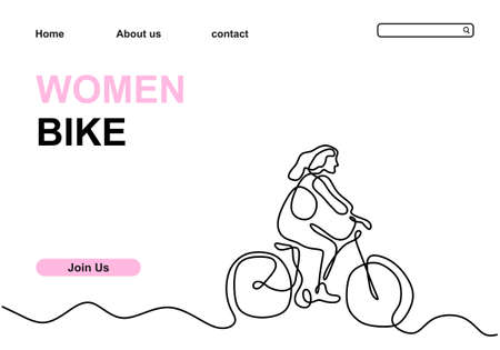 One single line drawing young happy woman ride bicycle to exercise in the street isolated on white background. Hand drawn design vector illustration for cycling competition poster 矢量图像
