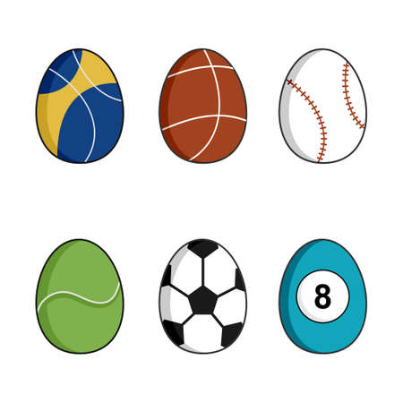 6 set collection of easter egg with different motif includes football, basket ball, tennis ball, baseball etc isolated on white background. Vector illustration. Perfect for textile, wrapping paper