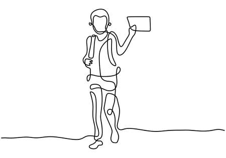 Continuous one line drawing happy little boy walking on street with backpack to go to school while holding a book isolated on white background. Education concept. Vector illustration