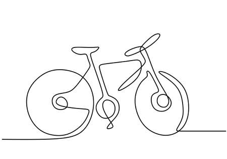 Continuous single drawn one line bicycle.Hand drawing business concept sketch of bike a traditional transportation. Healthy lifestyle minimalist style. Vector illustration minimalist design 矢量图像