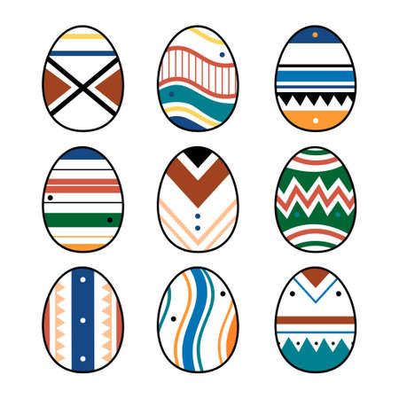 Set or collection of eight Easter eggs drawn in minimalist style. Colorful easter eggs with different textures, patterns and colors. Spring holiday. Vector illustration isolated on white background.