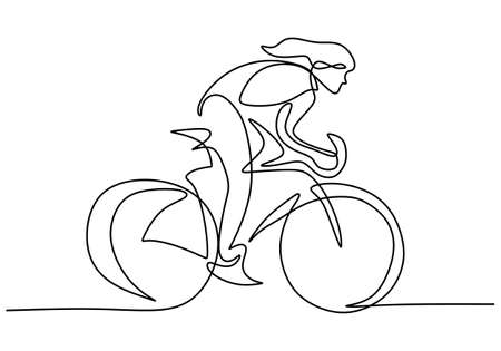 Continuous single line drawing of young girl bicycle racer focus train her skill on the street. Road cyclist concept. Character woman with long hair riding bicycle. Vector illustration