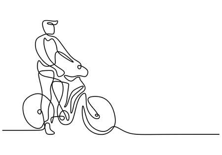 One continuous single line drawing of young man riding bicycle for exercise. Healthy commuter lifestyle concept linear sketch isolated on white background. Vector illustration