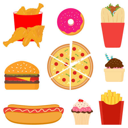 Fast food colorful flat design icons set. Tasty fast food includes donut, burger, french fries, fried chicken, ice cream, hot dog, cup cake, kebab, pizza in cartoon style. Flat vector junk food